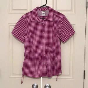 The North Face pink gingham button down size XL